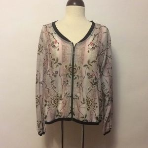 NWT City Chic Floral Sheer Bomber Jacket